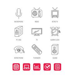 Tv remote retro phone and radio icons vector