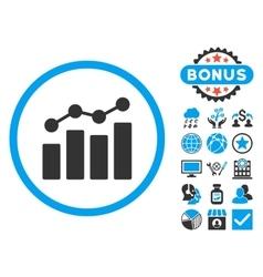 Analytics Flat Icon with Bonus vector image