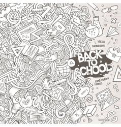 Cartoon cute doodles hand drawn school frame vector image vector image