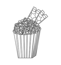 grayscale contour of popcorn container with movie vector image
