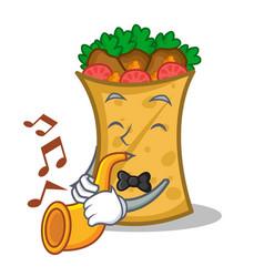 kebab wrap character cartoon with trumpet vector image vector image