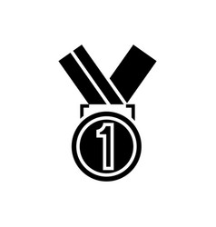 medal first place icon black vector image vector image