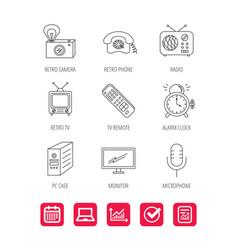 Retro camera radio and phone call icons vector