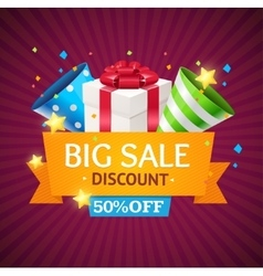 Sale Card with Gift Box vector image vector image