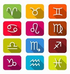Zodiac horoscope colorful symbols on rounded vector