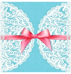 Blue lacy wedding card template vector image