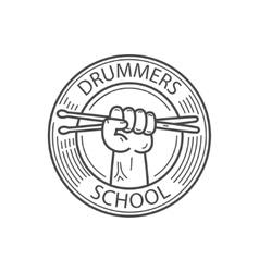 drummers school emblem vector image