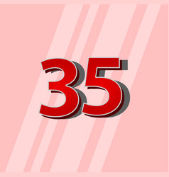 35 years anniversary red elegant number template vector