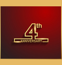 4 anniversary line style golden color vector