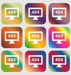 404 not found error icon sign Nine buttons with vector image