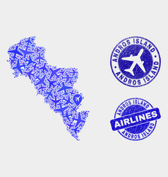 airlines collage andros island greece vector image