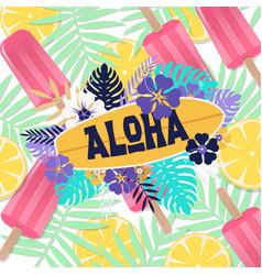 Aloha ice cream jungle lemon background ima vector