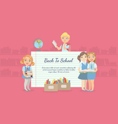 back to school banner with cute school children vector image