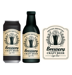 Beer label on can and bottle vector