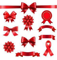big set ribbon bow white background vector image