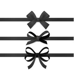 black ribbon bows silk ribbons with decorative vector image