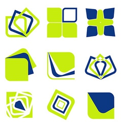Blue green abstract business icon collection vector image