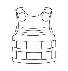 Bulletproof vest icon in outline style isolated on vector