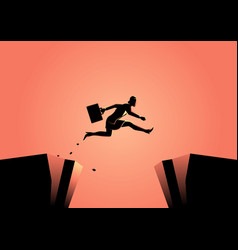 Businesswoman jumps over ravine vector