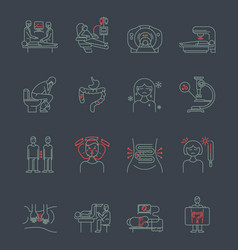 Cancer gastrointestinal tract icons vector