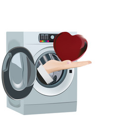 Cardboard heart cleaning washer vector