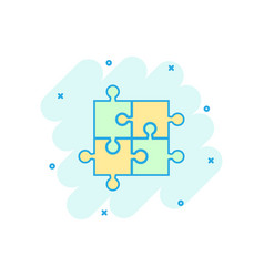 cartoon jigsaw puzzle icon in comic style jigsaw vector image