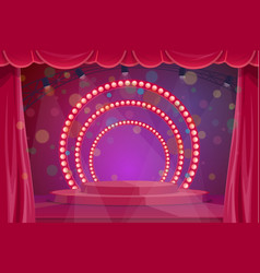 cartoon stage with pedestal curtain and spotlight vector image