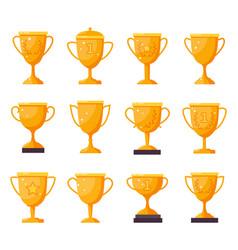 Champion golden cups gold winner trophy goblets vector