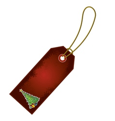 christmas tree cartoon gift tag vector image