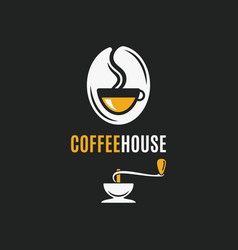 coffee bean logo with coffee cup and grinder vector image