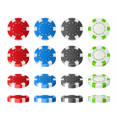 colorful plastic poker chips realistic set 3d vector image