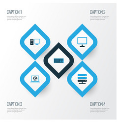computer colorful icons set collection of display vector image
