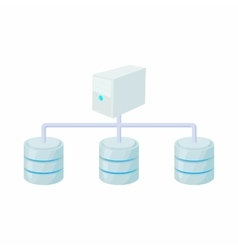 Computer network database icon cartoon style vector image