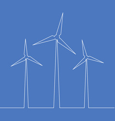 Continuous one line wind turbine energy concept vector