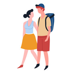 couple love traveling man with backpack and woman vector image