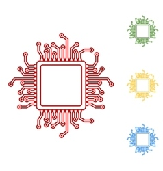 CPU Microprocesso Set of line icons vector image