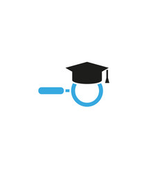 creative abstract graduation hat magnifying logo vector image
