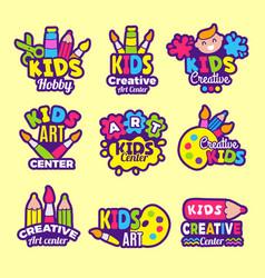 creativity kids logo craft emblems or badges vector image