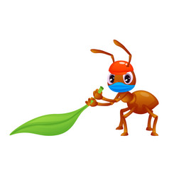 Cute ant is dragging a leaf wearing a face mask vector
