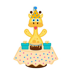 cute giraffe with a party hat a cake and presents vector image