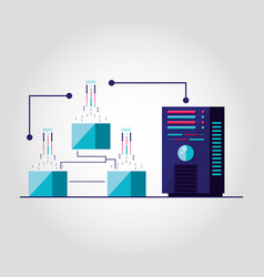 data center with circuit isolated icon vector image