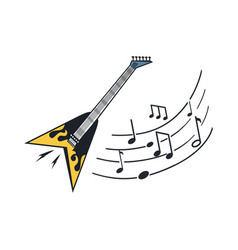 electric guitar musical instrument with notes vector image
