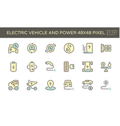 Electric vehicle and power icon set 48x48 pixel vector