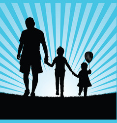 Family happy walking in nature silhouette color vector