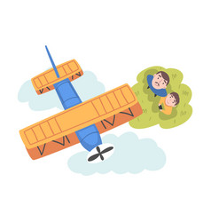 Father and his son launching airplane model view vector