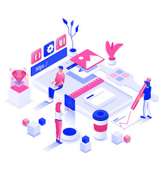 flat color modern isometric design - design and vector image