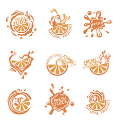 Fresh juice emblems vector
