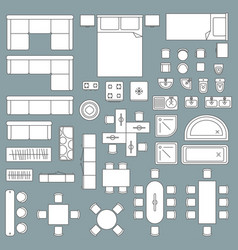 furniture top view architecture plan vector image