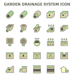 Garden drainage system and pipe icon set design vector