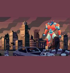 Giant robot in city vector